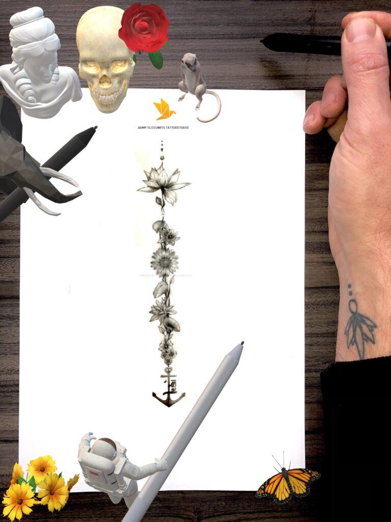 customer design flower side upper en lower back women tattoo portfolio www.jaimysleeuwits.com 2020