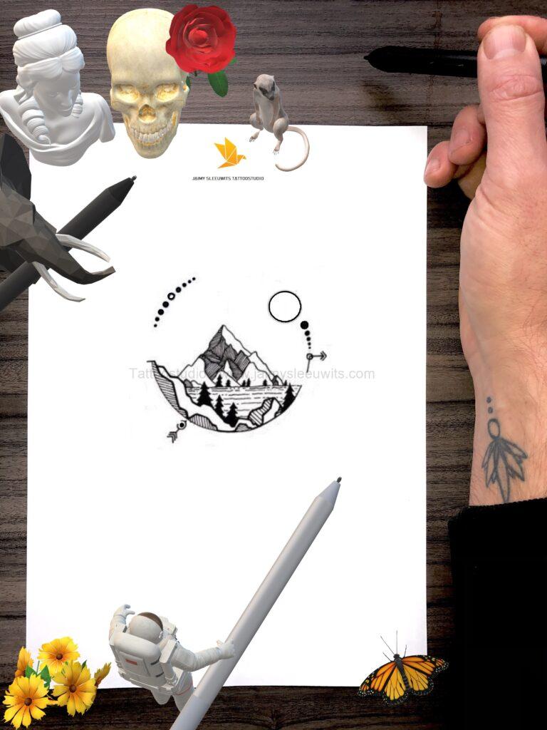 customer design mountains and full moon geometric tattoo portfolio www.jaimysleeuwits.com 2020.jpg